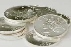 Silver rounds Stock Photos