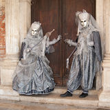 Silver royal couple venice masks Stock Photos