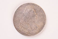 Silver ruble coin 1729 Russian emperor Peter II Autocrat Royalty Free Stock Photography