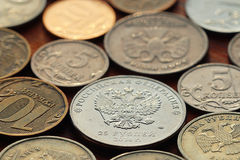 Silver ruble coins Royalty Free Stock Photo