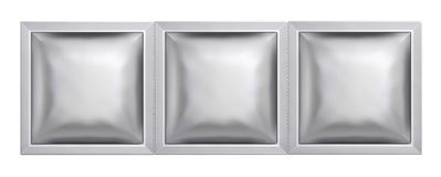 Silver sachet bag package Royalty Free Stock Photos