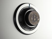 Safe dial with bitcoin symbol. 3d rendering. Silver safe dial with bitcoin symbol. 3d rendering Stock Photography