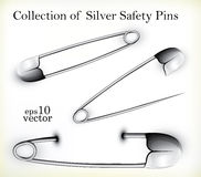 Silver Safety Pins Stock Photos