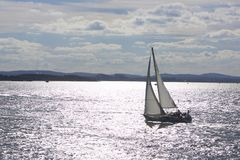 Silver Sailing on Boston Harbor Stock Photo