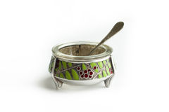 Silver saltcellar antiques. With spoon stock photos