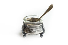 Silver saltcellar antiques. With spoon Royalty Free Stock Image