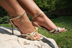 Silver sandals Stock Images