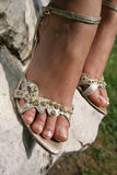 Silver sandals Stock Photography