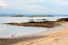 Silver Sands. Scotland, seashore with rocks Royalty Free Stock Image