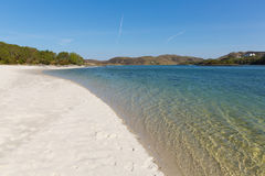 Silver Sands beach Morar Scotland UK sandy beaches on the coastline near Arisaig. Silver Sands of Morar beautiful Scotland UK sandy beaches on the coastline from Royalty Free Stock Image
