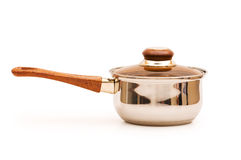 Silver saucepan isolated Royalty Free Stock Image