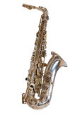 Silver saxophone. On a white background Royalty Free Stock Photo