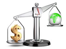 Silver scales with dollar sign and earth Royalty Free Stock Image