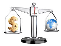 Silver scales with dollar sign and earth Stock Photography
