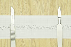 Silver scalpel put on paper of heart line wave Royalty Free Stock Photo