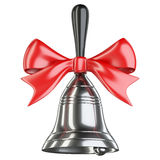 Silver school bell with red ribbon and bow. Isolated on white background 3d illustration Royalty Free Stock Photo