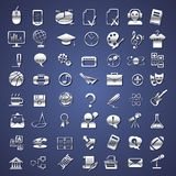 Silver school, college, education icons. For dark background Royalty Free Stock Images