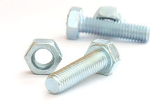 Silver screw bolts Stock Image