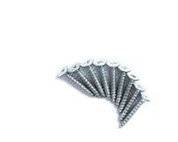 Silver screws on white background Stock Photo