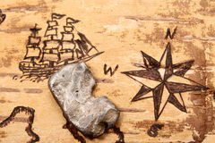 Silver. The sea chart on the order of olden time on birchbark and bullion Royalty Free Stock Photo