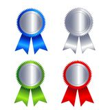 Silver seal with ribbon Royalty Free Stock Photos