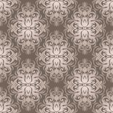 Silver seamless damask Wallpaper for design. Royalty Free Stock Photography