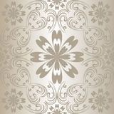 Silver seamless floral pattern. Royalty Free Stock Photo