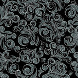 Silver seamless floral swirls Royalty Free Stock Image