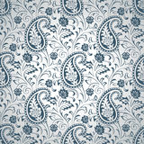 Silver seamless paisley wallpaper Stock Image