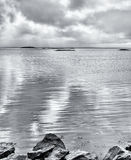 Silver seascape, black and white image. Royalty Free Stock Image