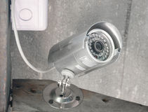 Silver security Camera or CCTV Stock Image