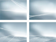 Silver set of 4 gradient mesh backgrounds and wave Royalty Free Stock Image