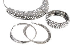 Silver set modern jewelry Stock Photography