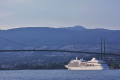 Silver Shadow approaches the Lions Gate Bridge Royalty Free Stock Photography
