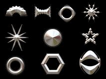 Silver shapes. Various shiney silver / chrome shapes stock illustration