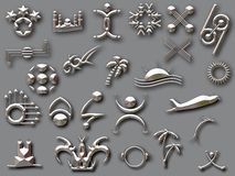 Silver shapes with shadow Stock Images