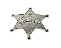 Silver sheriff badge with raised lettering