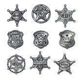 Silver Sheriff Badges Collection. Of western stars shields and emblems with letterings isolated vector illustration stock illustration