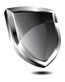 Silver Shield. Depicting protection on internet Stock Photo
