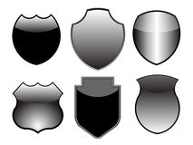 Silver shield design set Royalty Free Stock Photos