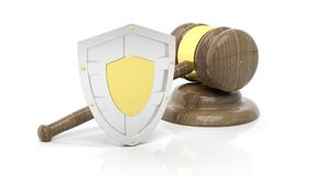 Silver shield and gavel symbols Stock Photos