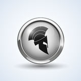 Silver shield with helmet. Vector logo illustration Stock Photo