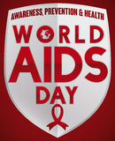 Silver Shield with Red Ribbon and Message for World AIDS Day, Vector Illustration Royalty Free Stock Photos