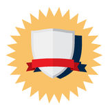 Silver Shield with red ribbon vector icon Stock Images