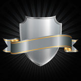 Silver shield with ribbon Royalty Free Stock Images