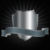 Silver shield with ribbon Royalty Free Stock Photos