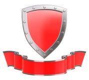 Silver shield with ribbon Stock Photos