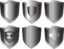 Silver shield set Stock Image