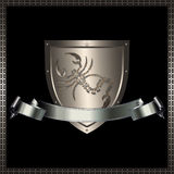 Silver shield and silver ribbon. Royalty Free Stock Image