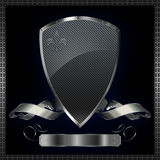Silver shield with silver ribbon. Royalty Free Stock Image